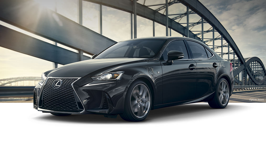 Exterior shot of the 2018 Lexus IS F SPORT shown in Obsidian.