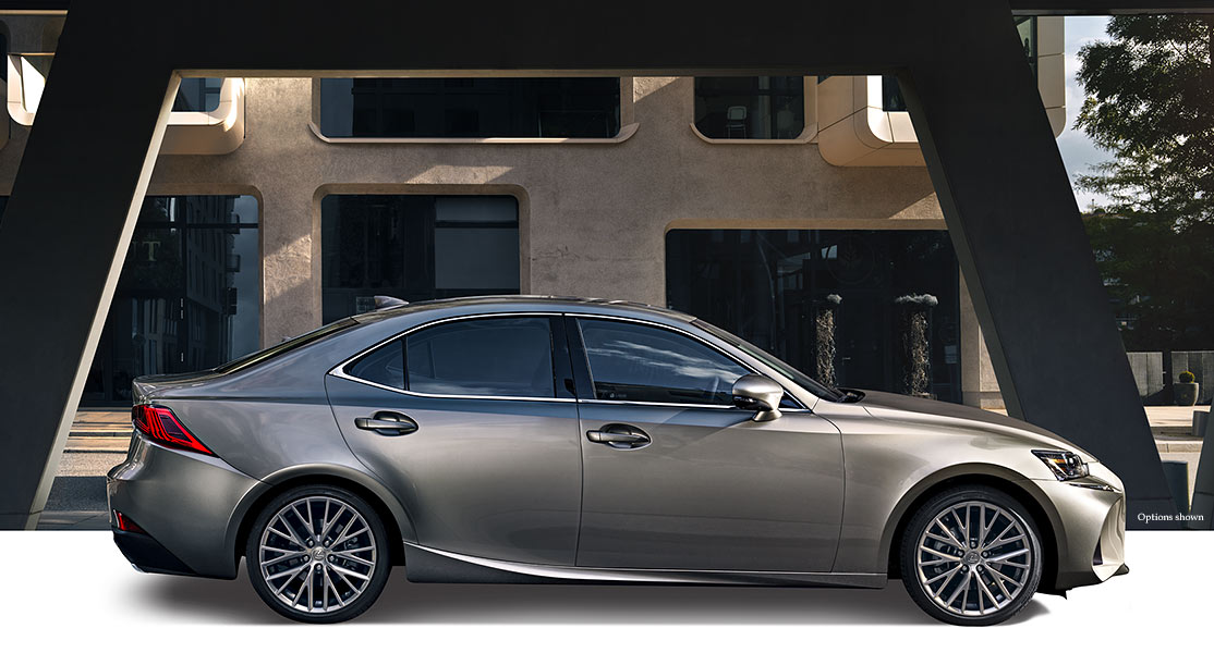 Exterior shot of the 2018 Lexus IS Turbo shown in Atomic Silver.