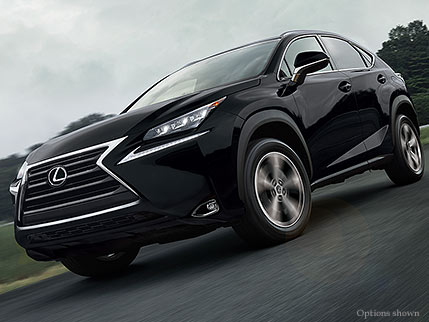 Exterior shot of the 2017 Lexus NX Turbo shown in Obsidian
