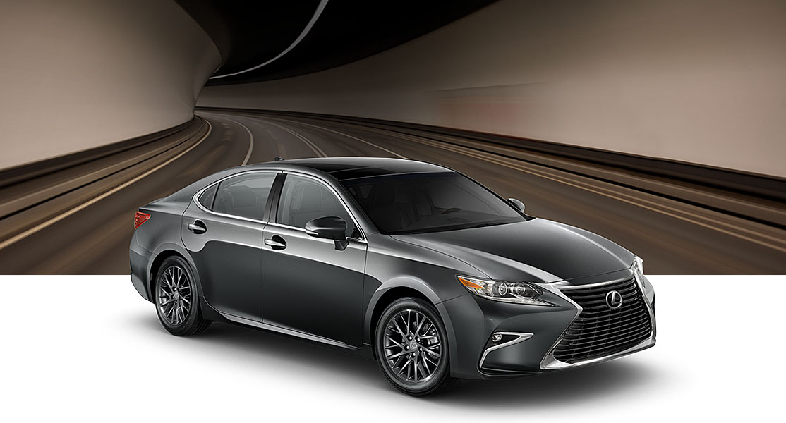 Exterior shot of the 2017 Lexus ES shown in Nebula Gray Pearl.