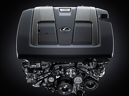 Lexus LS twin-turbocharged engine.