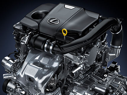 Detail shot of Lexus NX engine.