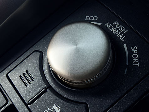 Lexus NX interior featuring the Drive Mode Select knob.