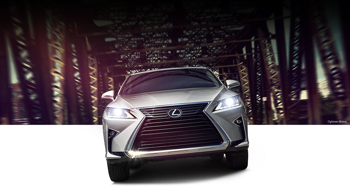 Exterior shot of the 2018 Lexus RX 350 shown in Nebula Gray Pearl