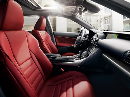 Interior of the Lexus IS F SPORT shown in Rioja Red NuLuxe.