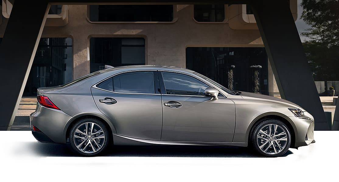 Exterior shot of the 2019 Lexus IS Turbo shown in Atomic Silver.