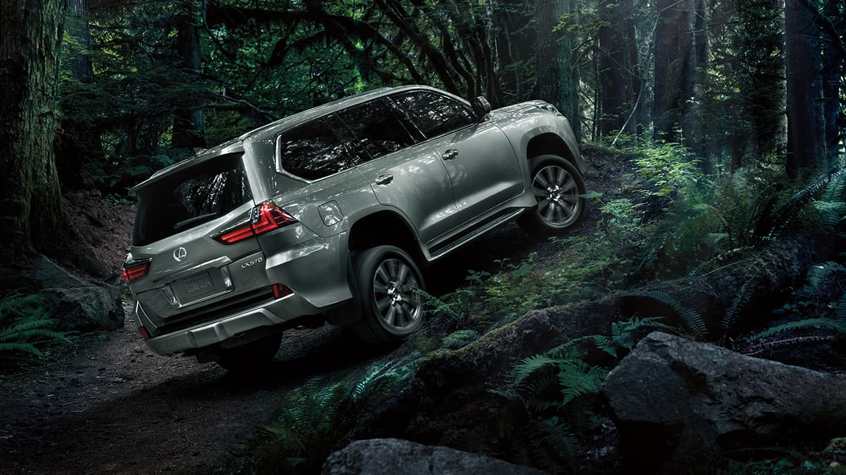 Exterior shot of the 2019 Lexus LX in Nebula Gray Pearl.