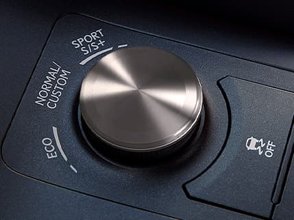 Interior of the Lexus RC showing the Drive Mode Select knob.