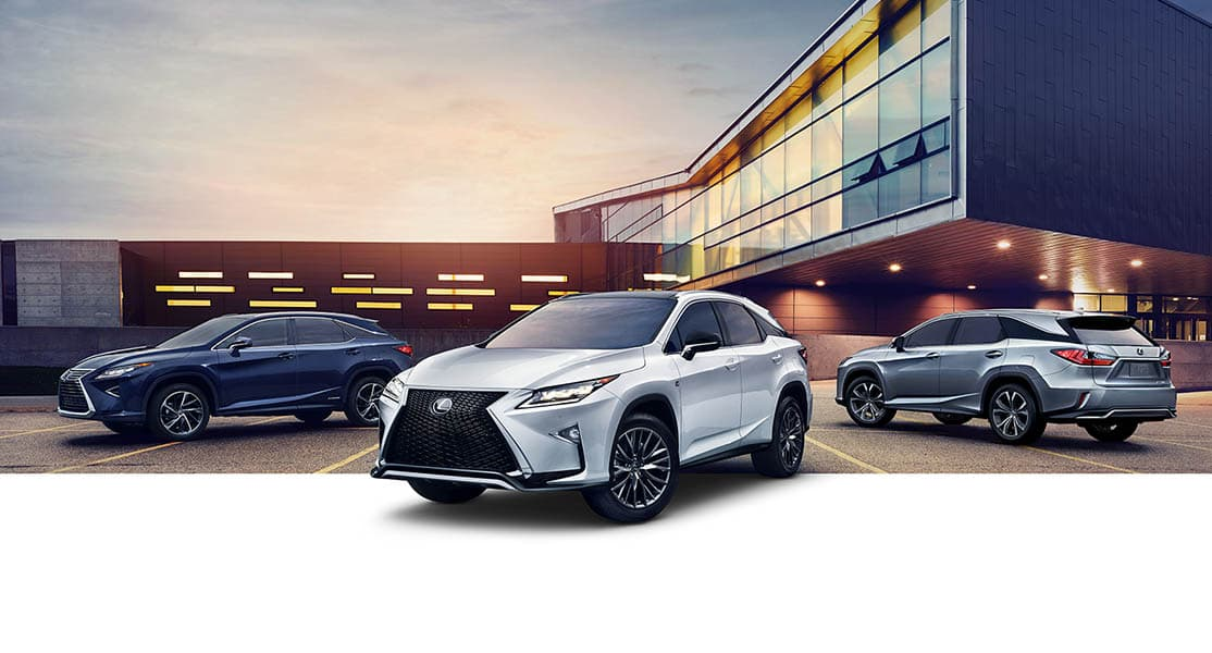 Exterior shot of 2019 Lexus RX shot in Ultra White
