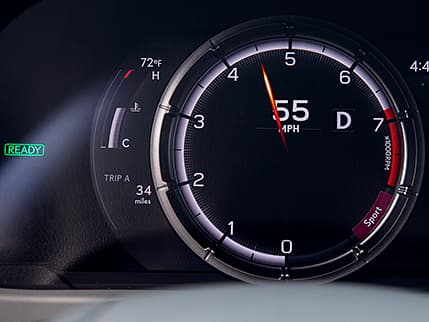 Interior of the Lexus UX F SPORT showing the performance-inspired digital gauges.