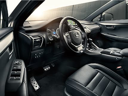 Lexus NX F SPORT interior shown with Black leather trim.
