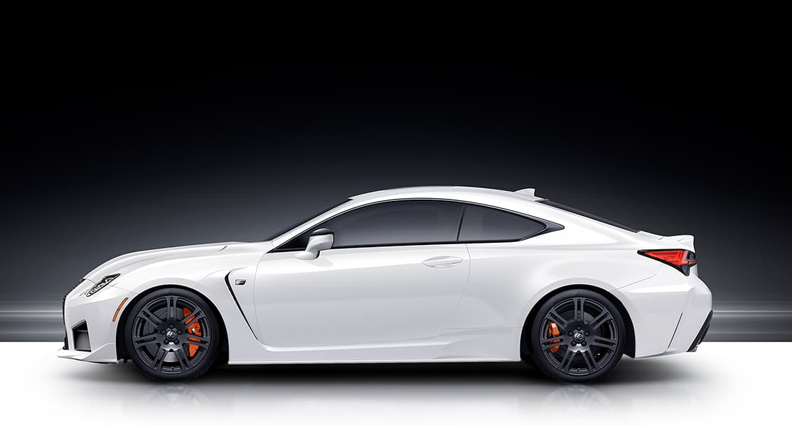 Profile of the 2020 RC F shown in Ultra White.
