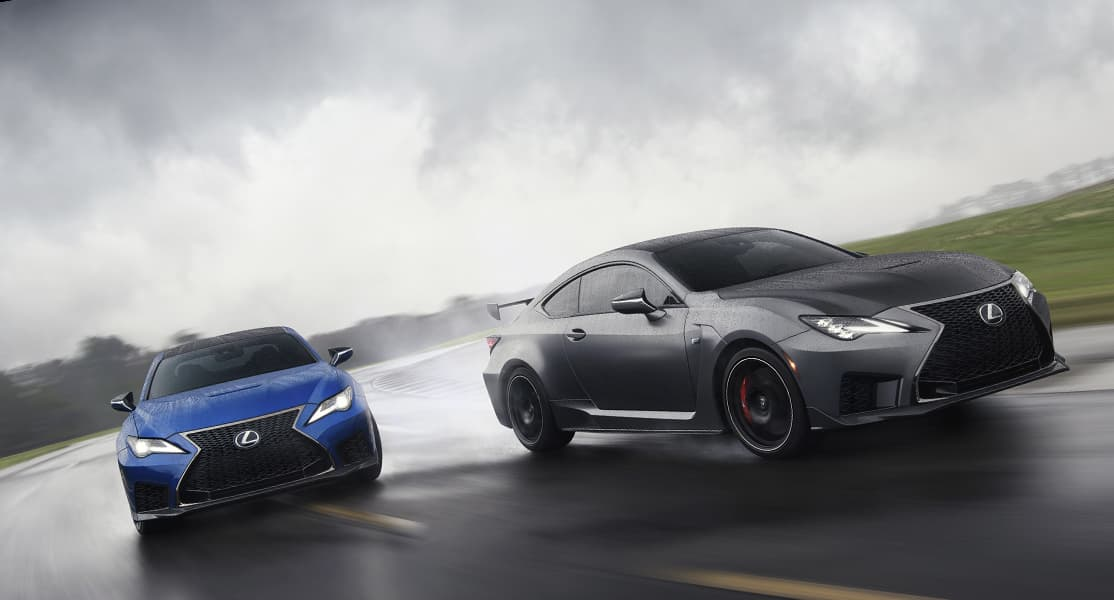 2020 RC F shown in available Ultrasonic Blue Mica 2.0 and the 2020 RC F Track Edition shown in available Matte Nebula Gray.