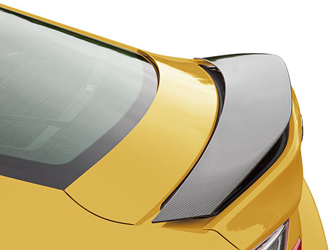 2020 RC F featuring the speed-activated rear wing shown in available Flare Yellow.