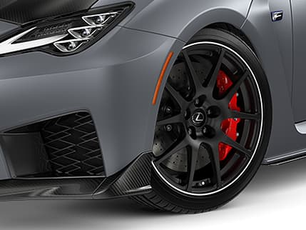 2020 RC F Track Edition shown in available Matte Nebula Gray with Brembo carbon-ceramic brakes and red brake calipers.