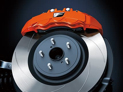 2020 RC F high-performance Brembo brakes with available orange metallic brake calipers.