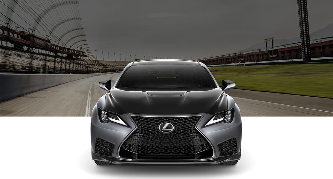 2020 RC F Track Edition shown in available Matte Nebula Gray with Premium Triple-Beam LED headlamps on.