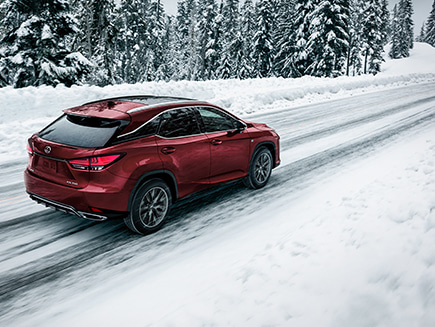 Lexus RX F SPORT shown in Matador Red Mica.