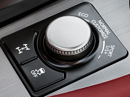 Interior of the Lexus RX F SPORT showing the Drive Mode Select knob.