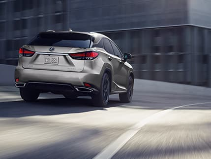 Lexus RX F SPORT shown in Atomic Silver.