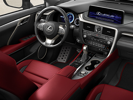 Interior of the Lexus RX F SPORT shown with Circuit Red NuLuxe.