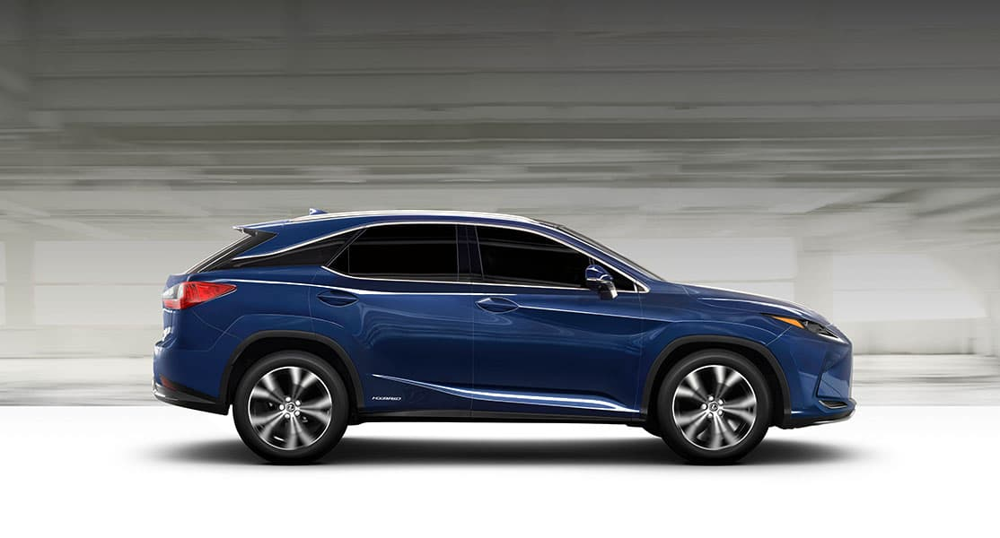 Lexus RX Hybrid shown in Nightfall Mica.