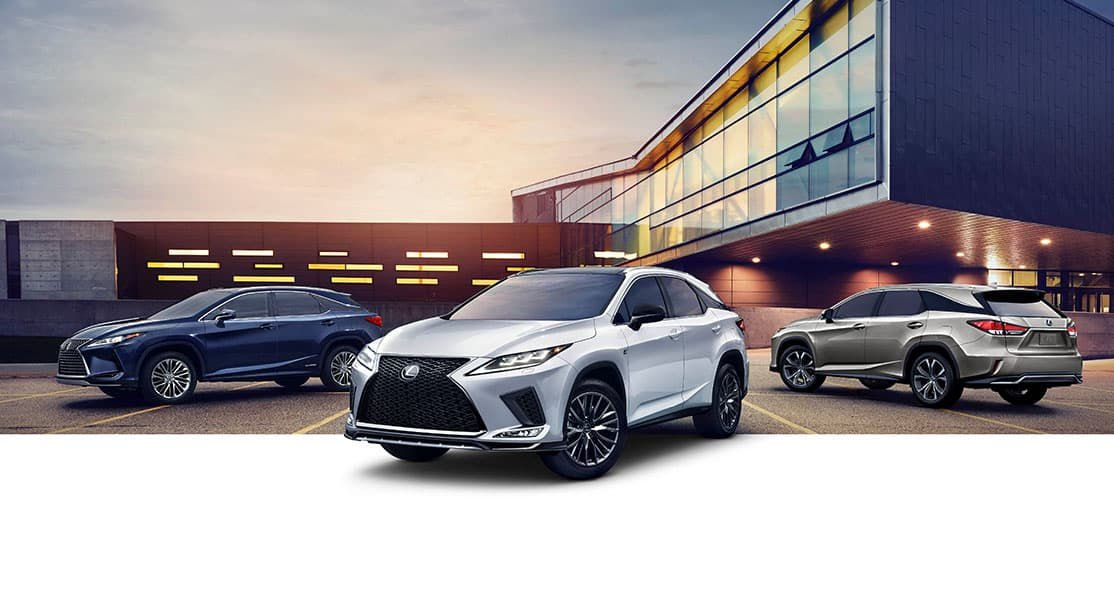 Lexus RX Hybrid shown in Nightfall Mica, Lexus RX F SPORT shown in Ultra White, and Lexus RXL shown in Moonbeam Beige Metallic.