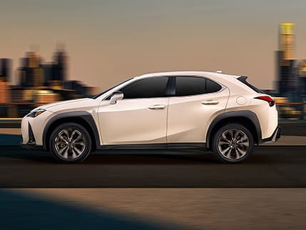 Lexus UX shown in Eminent White Pearl.