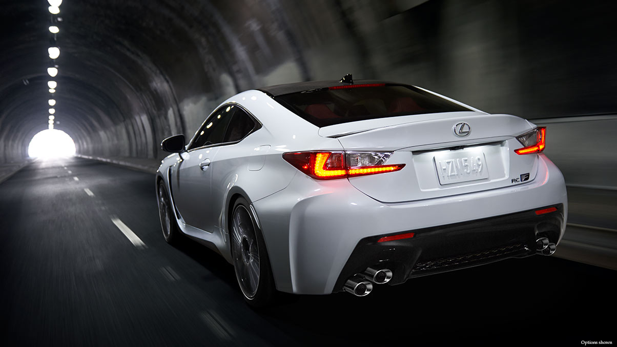 Exterior shot of the 2018 Lexus RC F shown in Ultra White.