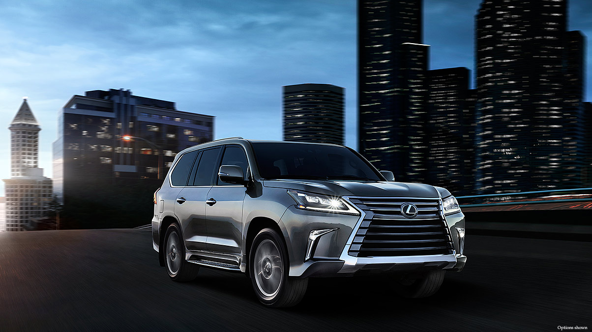 Exterior shot of the 2018 Lexus LX in Nebula Gray Pearl.
