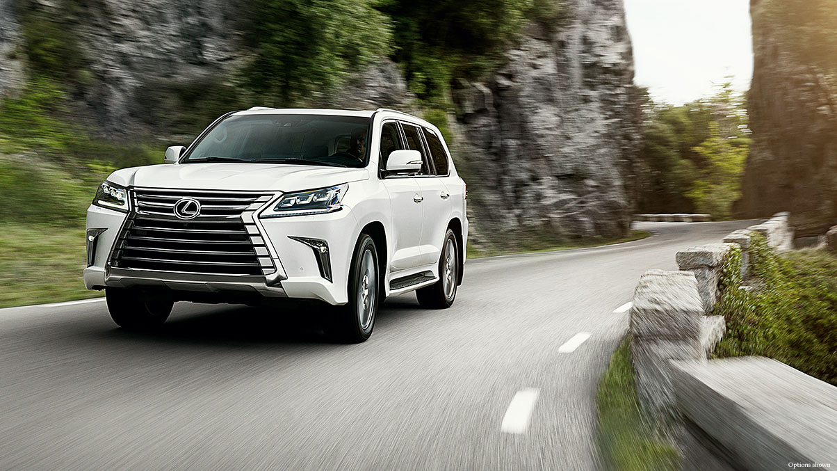 Exterior shot of the Lexus LX in Eminent White Pearl.