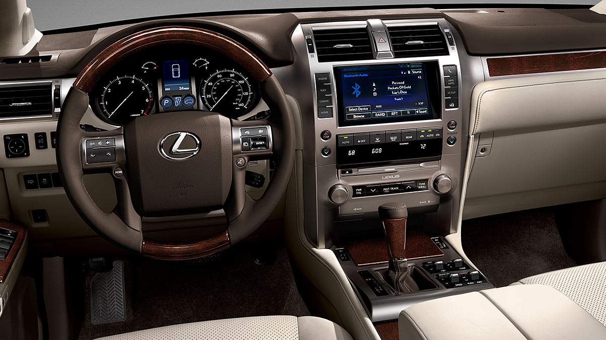 Interior shot of the 2019 Lexus GX 460 with leather steering wheel.