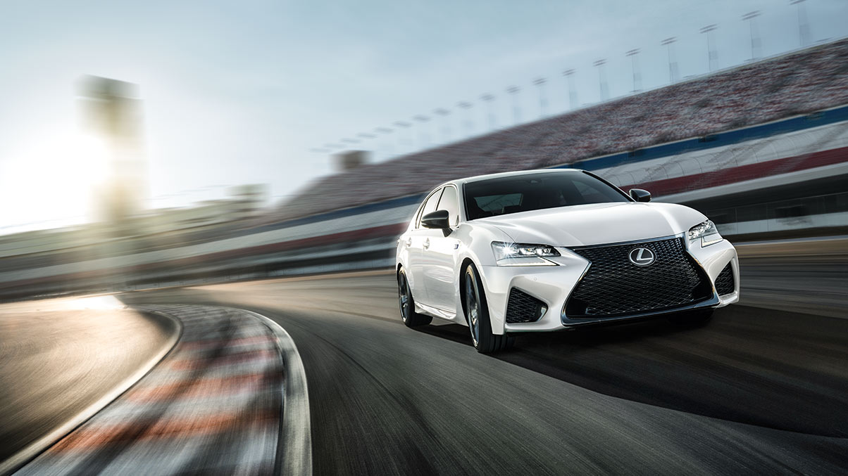 Exterior shot of the 2019 Lexus GS F shown in Ultra White.