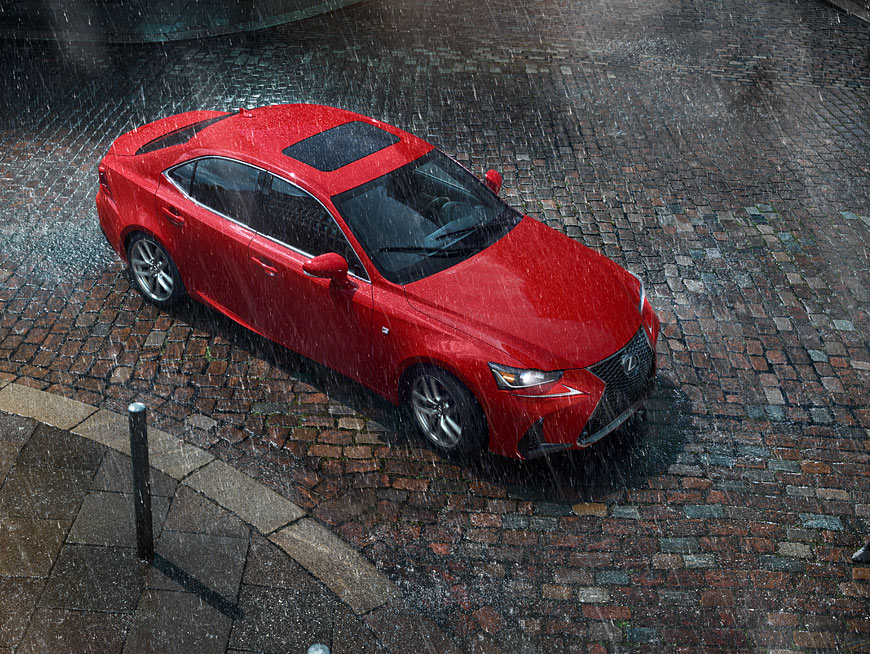Exterior shot of the 2018 Lexus IS F SPORT shown in Redline.