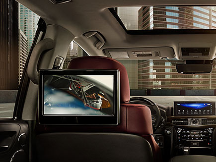 Interior shot of the Lexus LX dual wide-screen Rear-Seat Entertainment System.
