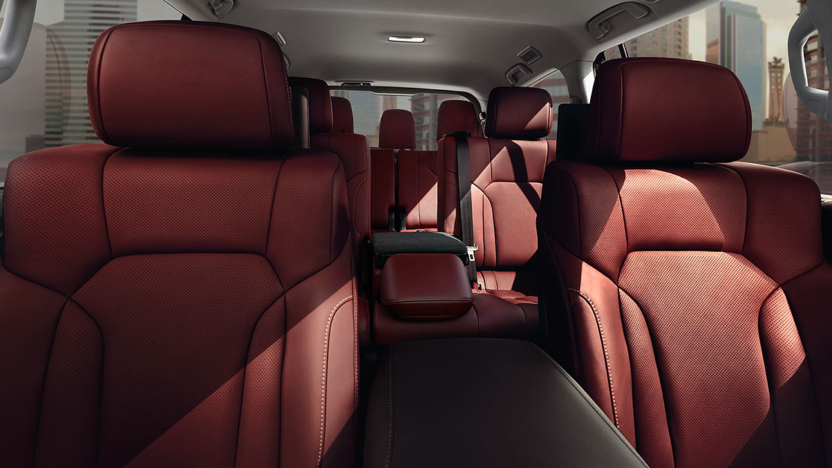 Interior shot of the 2019 Lexus LX with Cabernet semi-aniline leather trim.