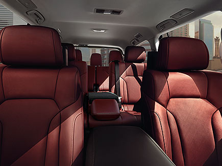 Interior shot of the Lexus LX shown with Cabernet semi-aniline leather trim.