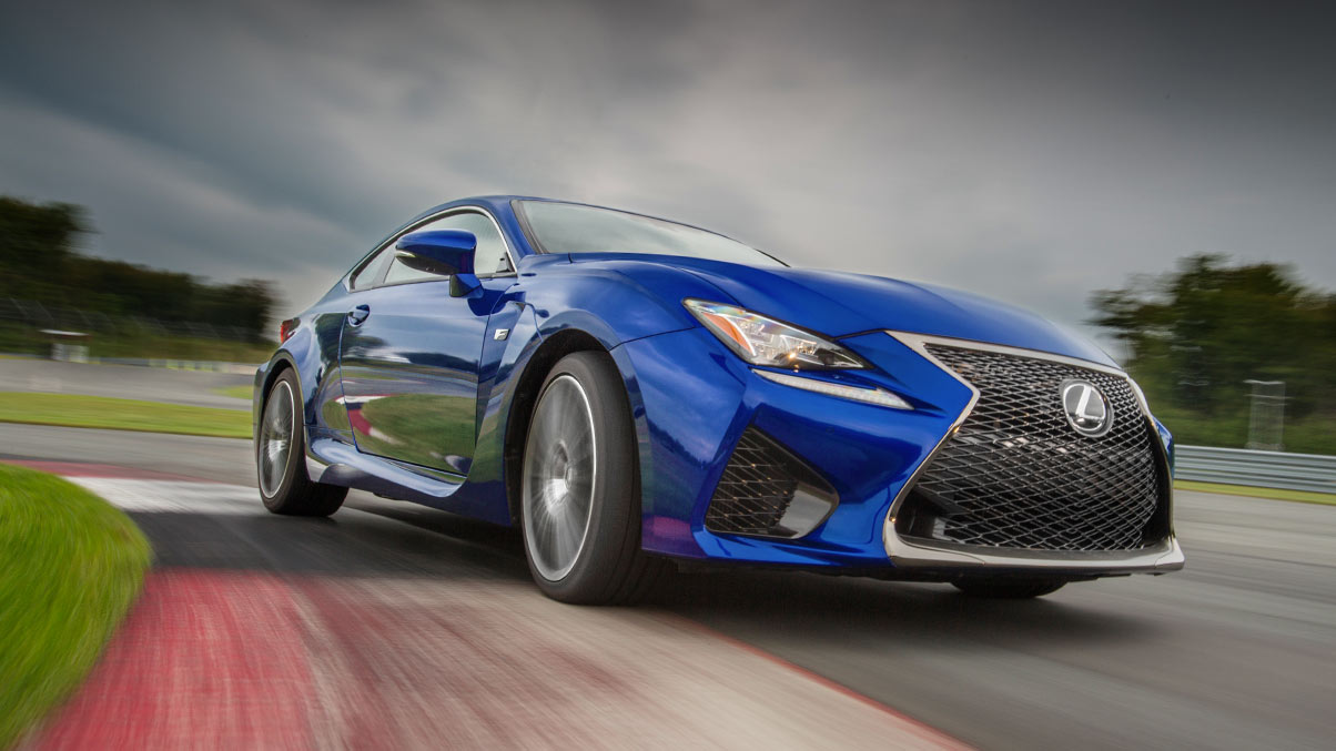 Exterior shot of the 2018 Lexus RC F shown in Ultrasonic Blue Mica 2.0.
