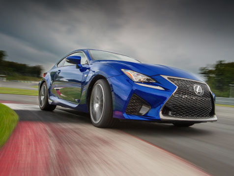 Exterior shot of the 2019 Lexus RC F shown in Ultrasonic Blue Mica 2.0.