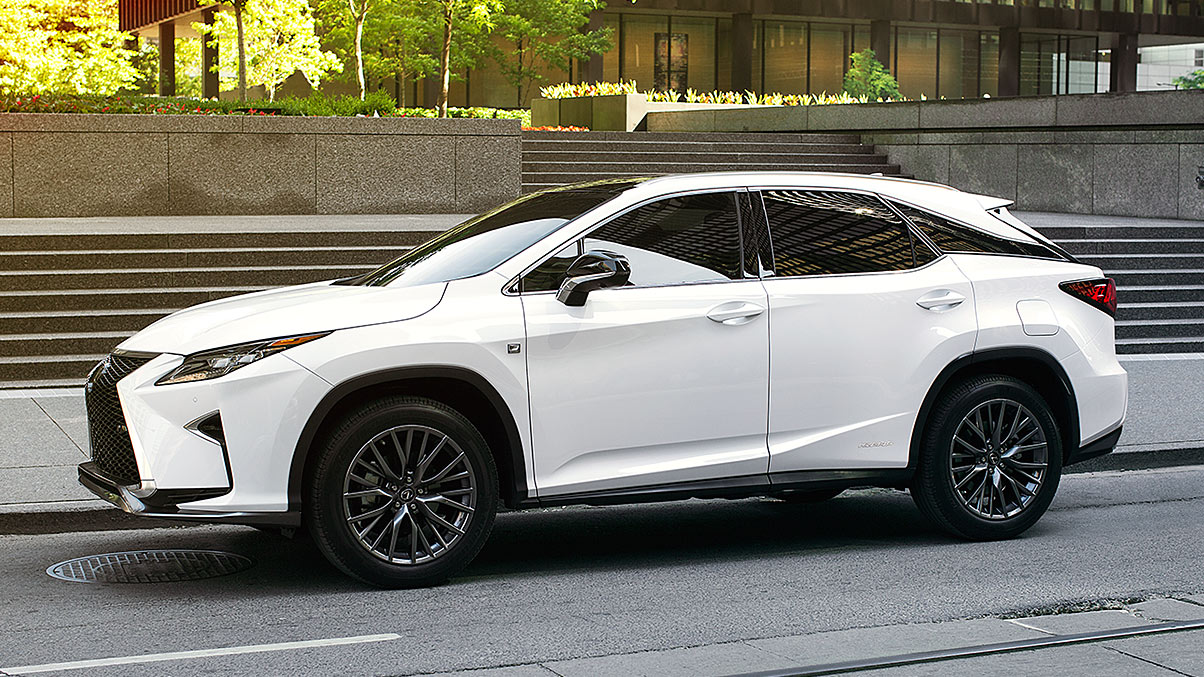 Exterior shot of the 2018 Lexus RX Hybrid  shown in Ultra White