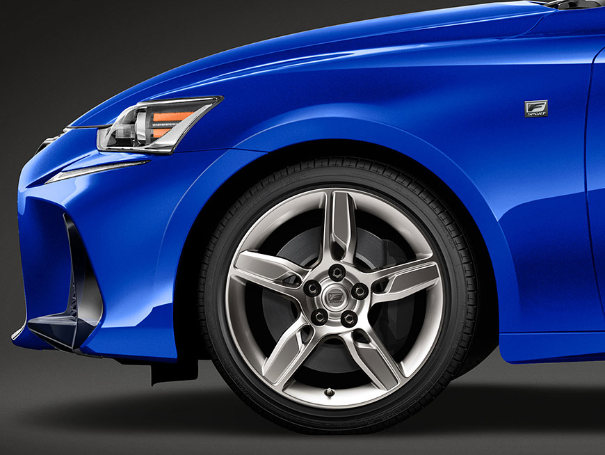 Exterior shot of the 2018 Lexus IS F SPORT shown in Ultrasonic Blue Mica 2.0