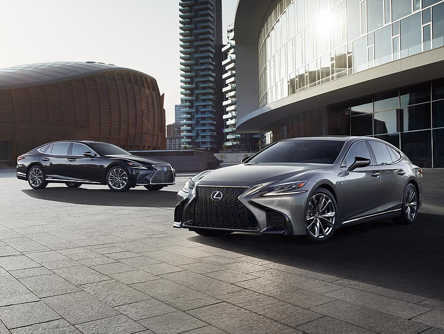 Lexus LS shown in Manganese Luster, Lexus LS Hybrid shown in Obsidian, and Lexus LS F SPORT shown in Manganese Luster.