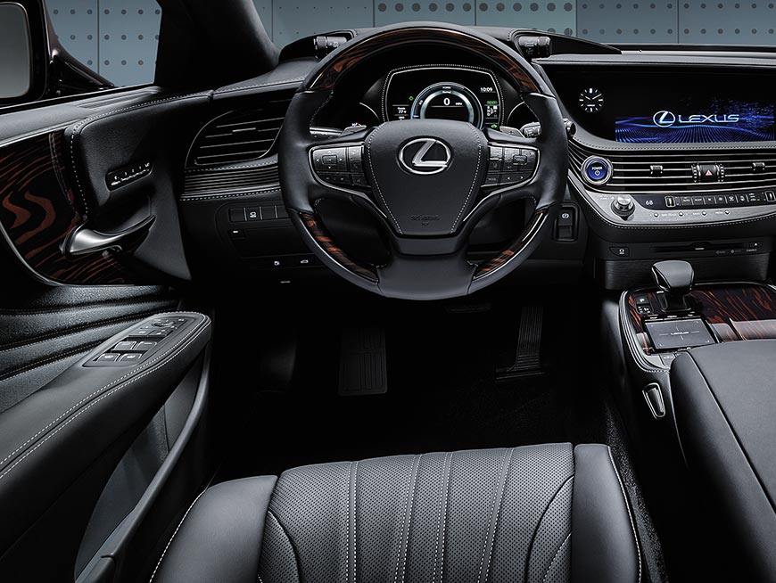 Interior of the Lexus LS showing the driver-centric interior.