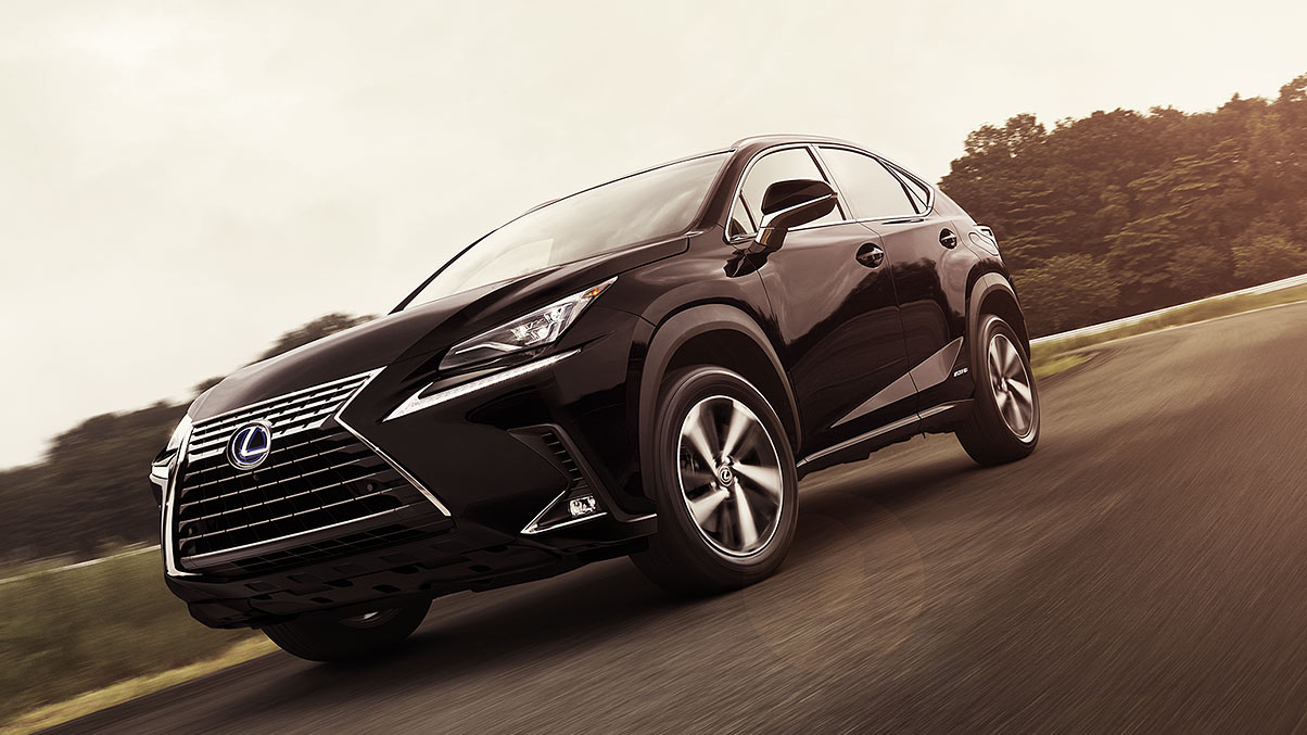 Exterior shot of the 2018 Lexus NX shown in Caviar