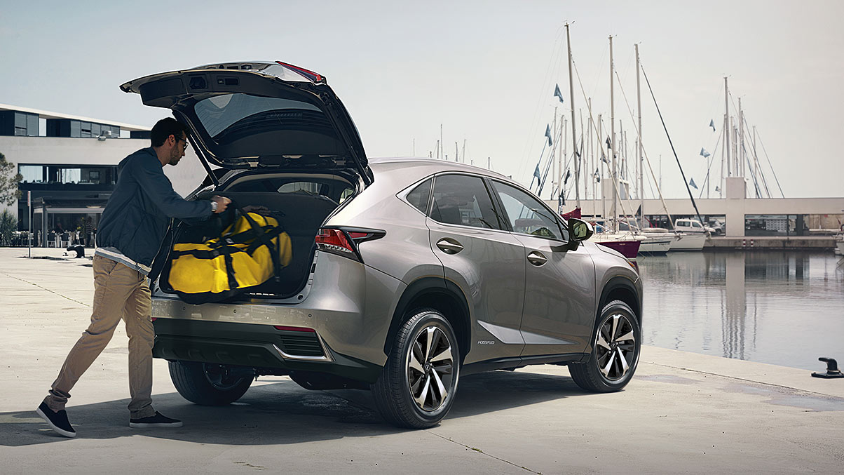 Exterior shot of the 2019 Lexus NX Hybrid shown in Atomic Silver