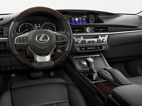 INTERIOR shot of the 2018 Lexus ES shown with Black leather trim.