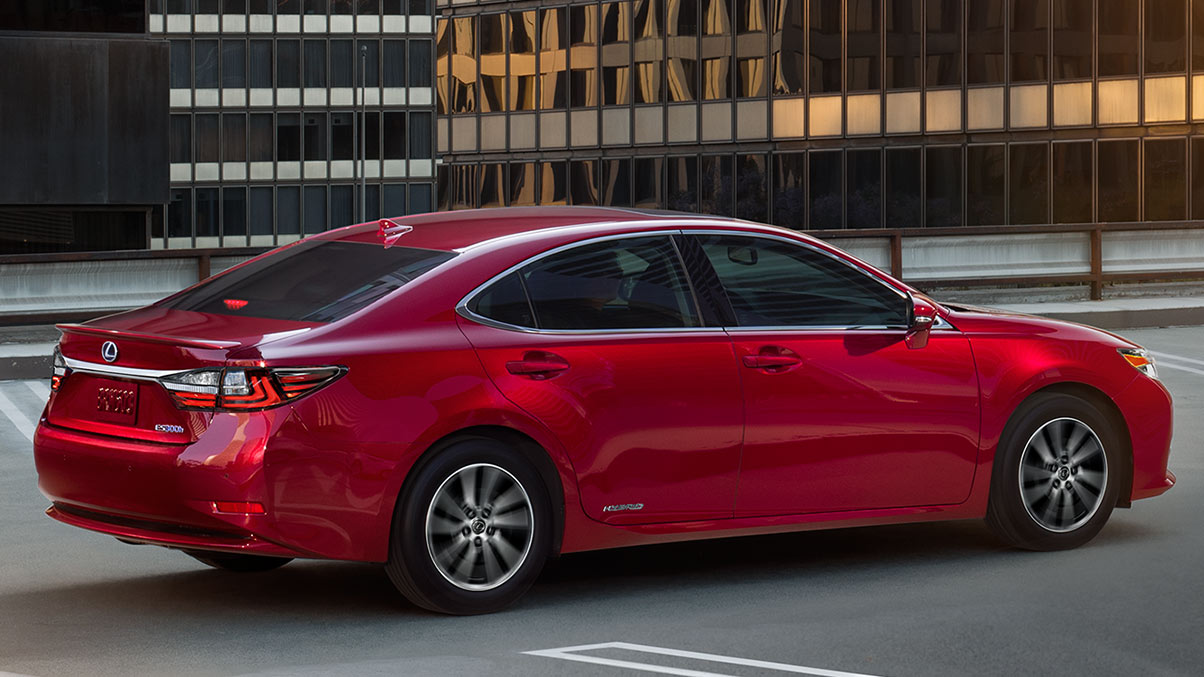 EXTERIOR shot of the 2018 Lexus ES Hybrid shown in Matador Red Mica.
