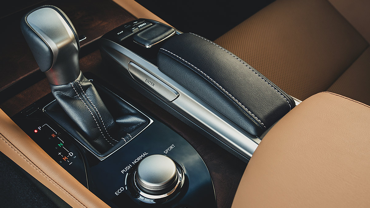 Interior shot of Lexus GS showing Drive Mode Select and Remote touch.