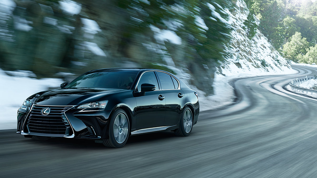 Exterior shot of the 2019 Lexus GS shown in Obsidian