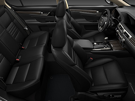 Interior shot of the 2019 Lexus GS shown in black leather trim
